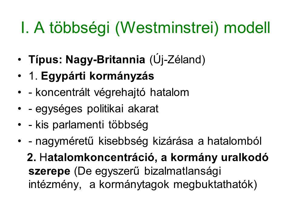 I. A többségi (Westminstrei) modell Típus: Nagy-Britannia (Új-Zéland) 1. Egypárti kormányzás - koncentrált végrehajtó hatalom - egységes politikai aka