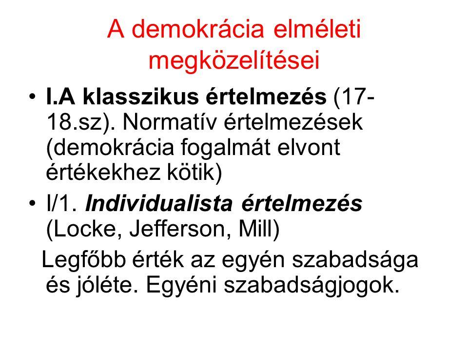 A demokrácia elméleti megközelítései I.A klasszikus értelmezés (17- 18.sz). Normatív értelmezések (demokrácia fogalmát elvont értékekhez kötik) I/1. I