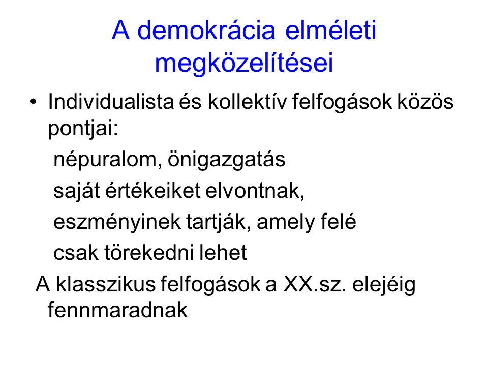A demokrácia elméleti megközelítései Individualista és kollektív felfogások közös pontjai: népuralom, önigazgatás saját értékeiket elvontnak, eszményi