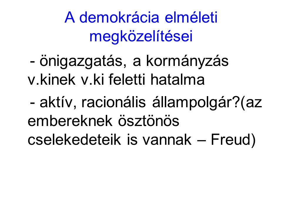 A demokrácia elméleti megközelítései - önigazgatás, a kormányzás v.kinek v.ki feletti hatalma - aktív, racionális állampolgár?(az embereknek ösztönös