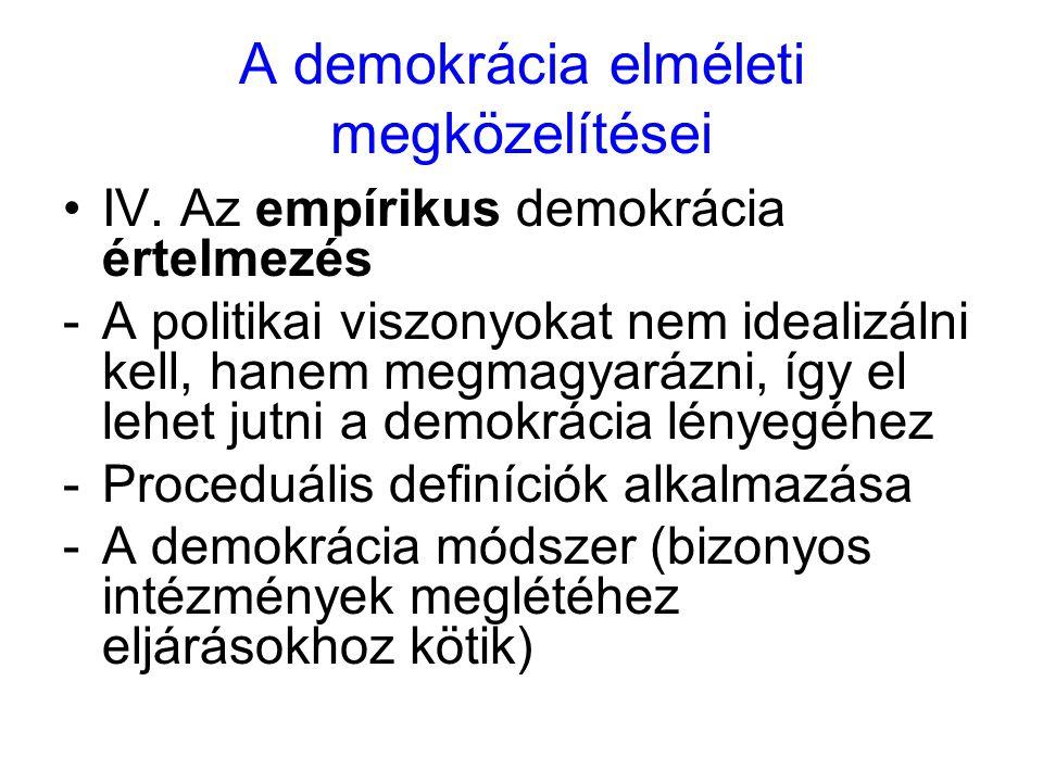 A demokrácia elméleti megközelítései IV. Az empírikus demokrácia értelmezés -A politikai viszonyokat nem idealizálni kell, hanem megmagyarázni, így el