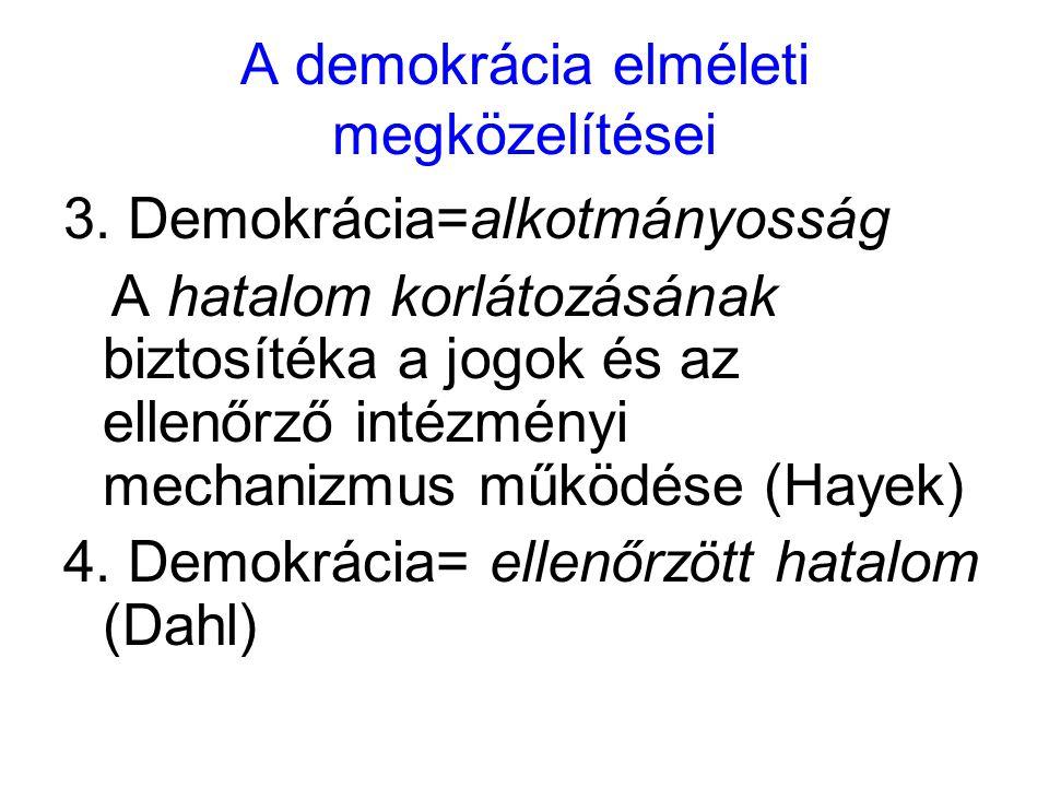 A demokrácia elméleti megközelítései 3. Demokrácia=alkotmányosság A hatalom korlátozásának biztosítéka a jogok és az ellenőrző intézményi mechanizmus