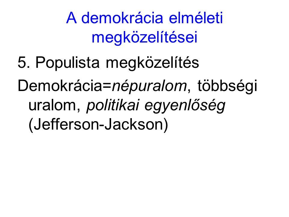 A demokrácia elméleti megközelítései 5. Populista megközelítés Demokrácia=népuralom, többségi uralom, politikai egyenlőség (Jefferson-Jackson)
