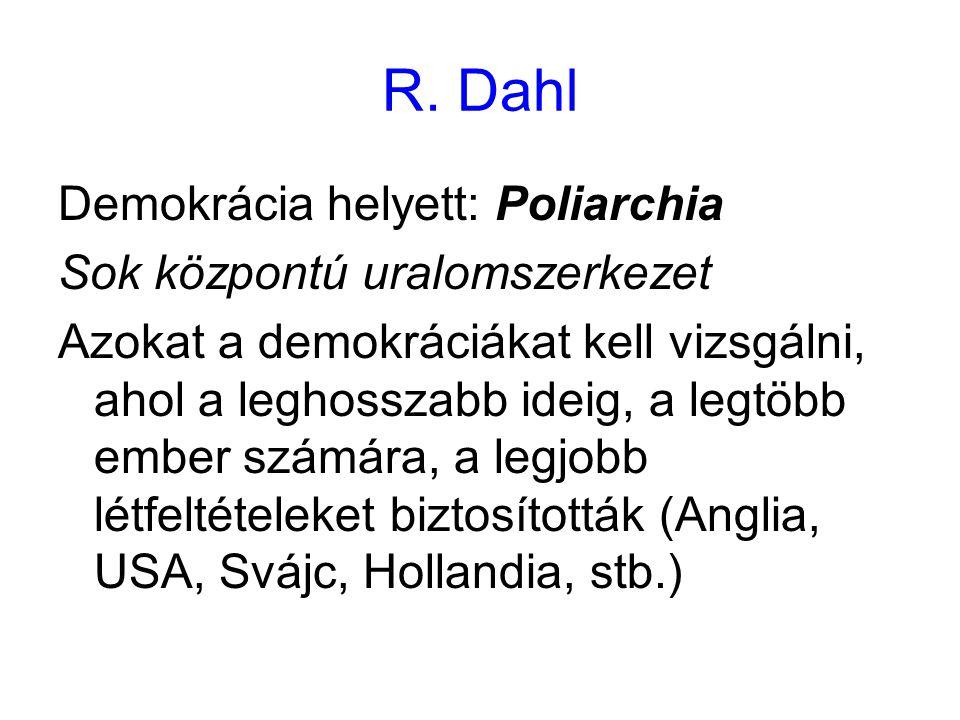R. Dahl Demokrácia helyett: Poliarchia Sok központú uralomszerkezet Azokat a demokráciákat kell vizsgálni, ahol a leghosszabb ideig, a legtöbb ember s