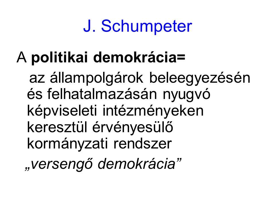 J. Schumpeter A politikai demokrácia= az állampolgárok beleegyezésén és felhatalmazásán nyugvó képviseleti intézményeken keresztül érvényesülő kormány