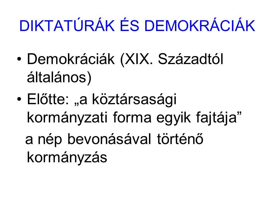 """DIKTATÚRÁK ÉS DEMOKRÁCIÁK Demokráciák (XIX. Századtól általános) Előtte: """"a köztársasági kormányzati forma egyik fajtája"""" a nép bevonásával történő ko"""
