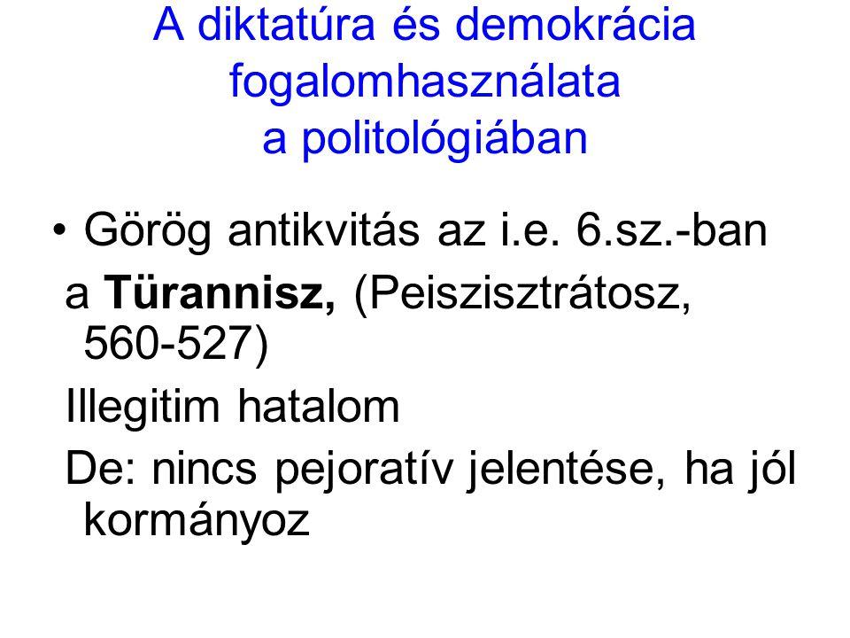 A diktatúra és demokrácia fogalomhasználata a politológiában Görög antikvitás az i.e. 6.sz.-ban a Türannisz, (Peiszisztrátosz, 560-527) Illegitim hata