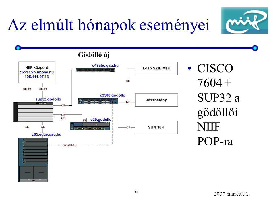 6 2007. március 1. Az elmúlt hónapok eseményei CISCO 7604 + SUP32 a gödöllői NIIF POP-ra