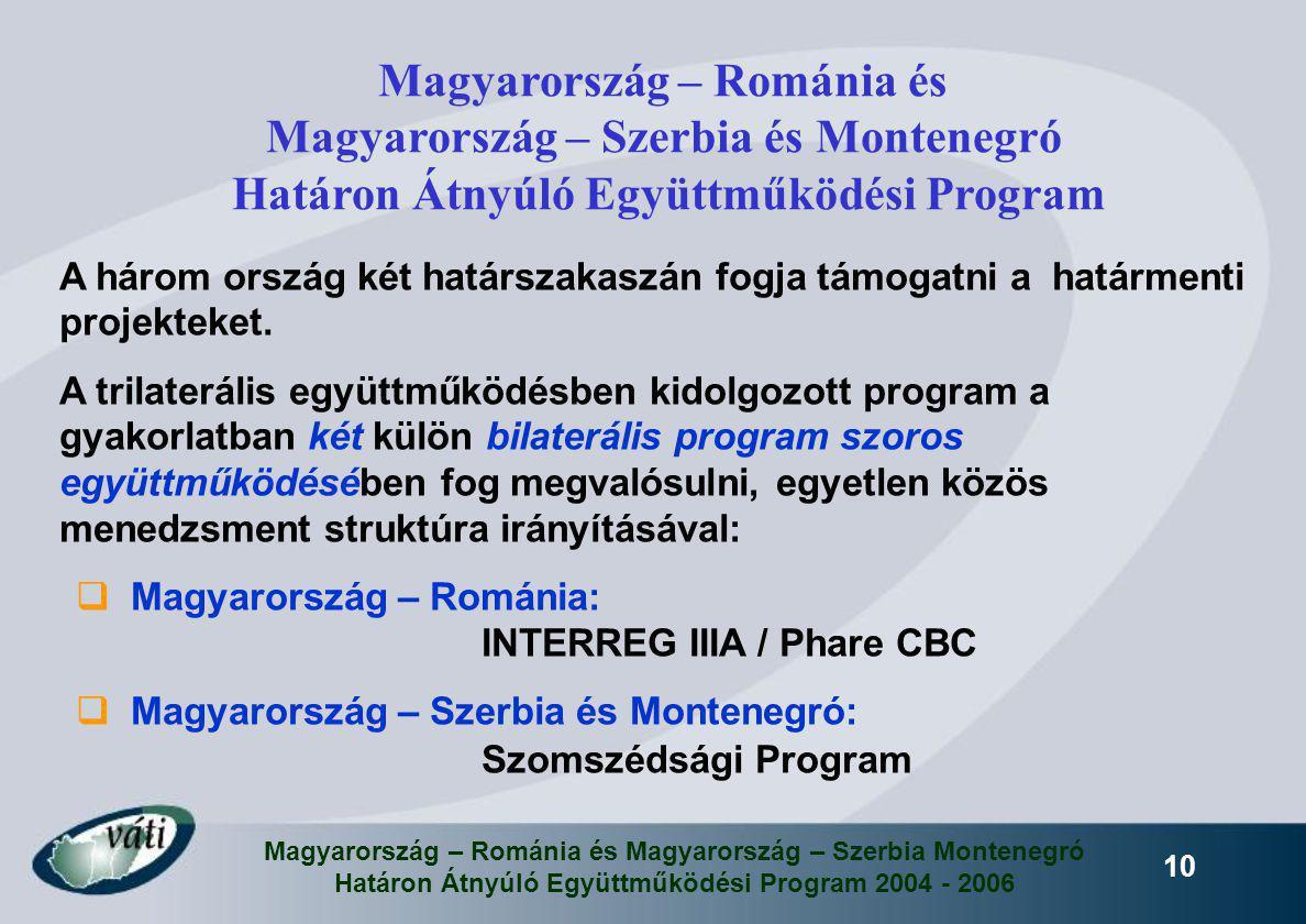 Magyarország – Románia és Magyarország – Szerbia Montenegró Határon Átnyúló Együttműködési Program 2004 - 2006 10 A három ország két határszakaszán fo