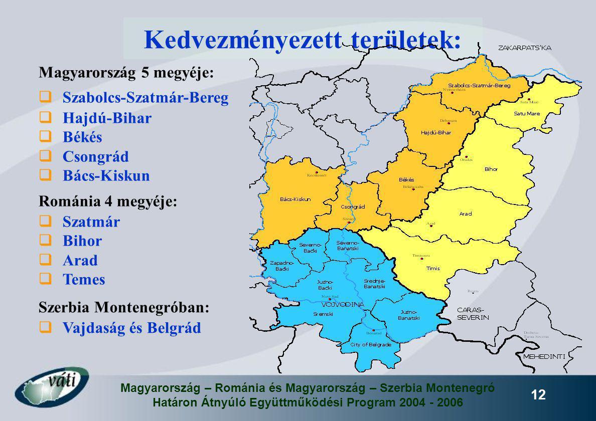 Magyarország – Románia és Magyarország – Szerbia Montenegró Határon Átnyúló Együttműködési Program 2004 - 2006 12 Kedvezményezett területek: Magyarors