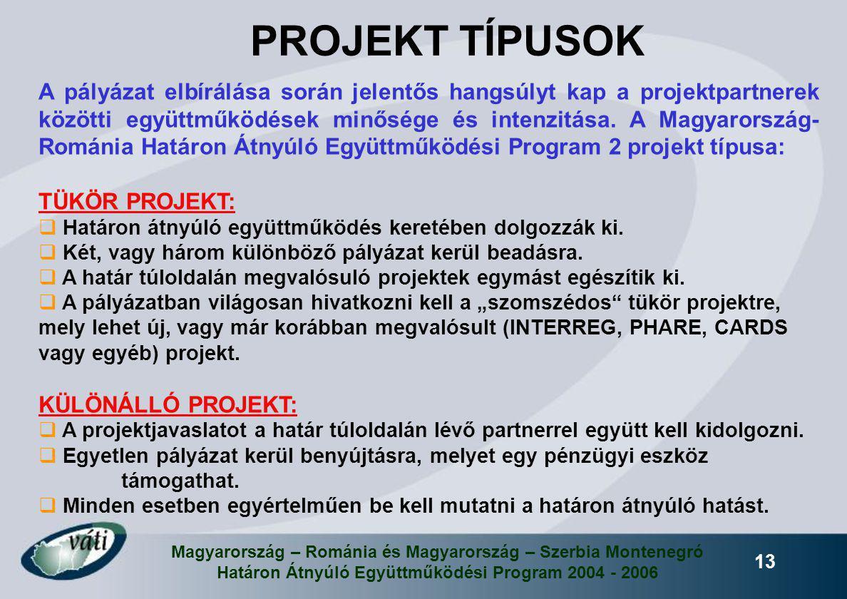 Magyarország – Románia és Magyarország – Szerbia Montenegró Határon Átnyúló Együttműködési Program 2004 - 2006 13 A pályázat elbírálása során jelentős