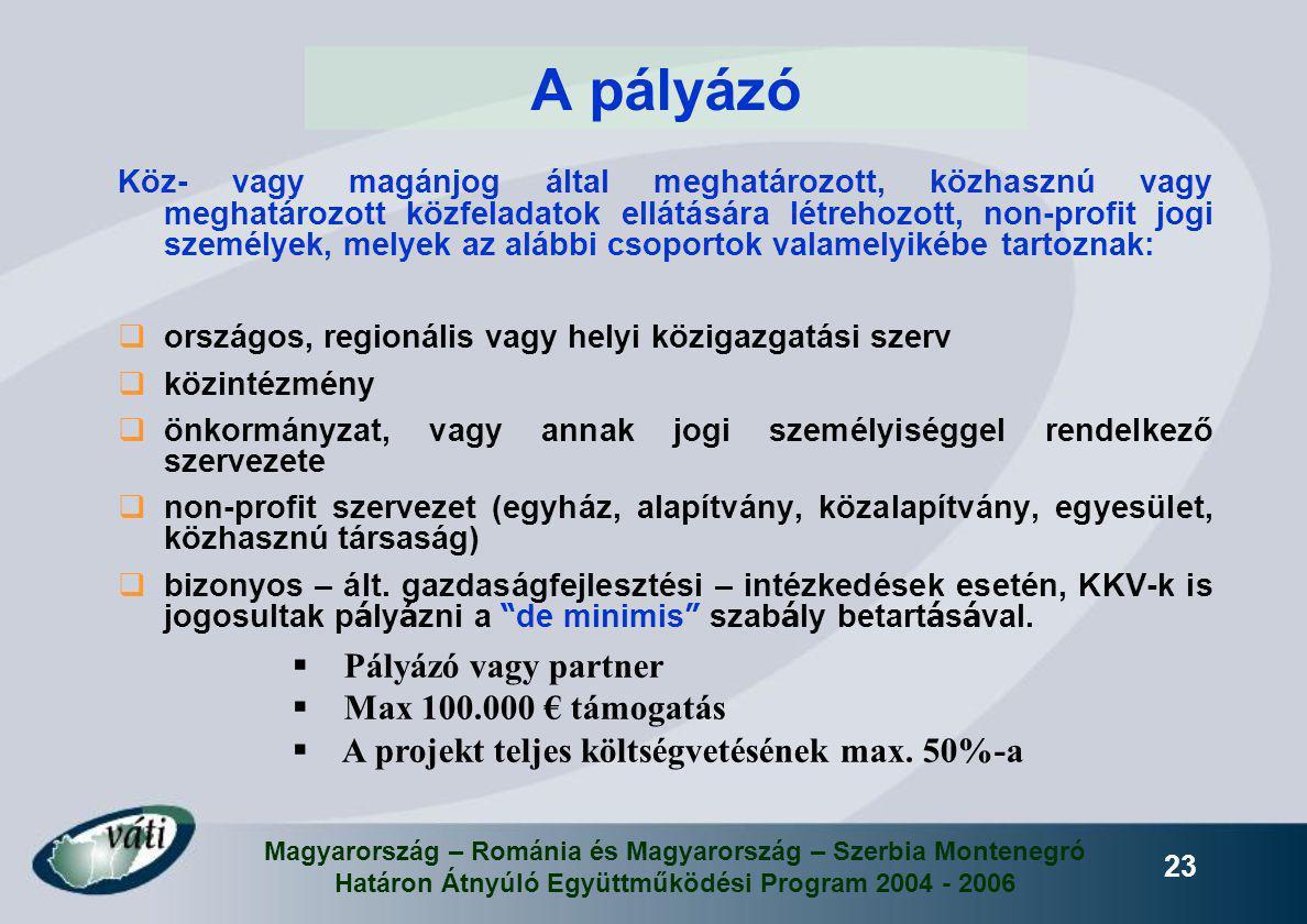 Magyarország – Románia és Magyarország – Szerbia Montenegró Határon Átnyúló Együttműködési Program 2004 - 2006 23 A pályázó Köz- vagy magánjog által m