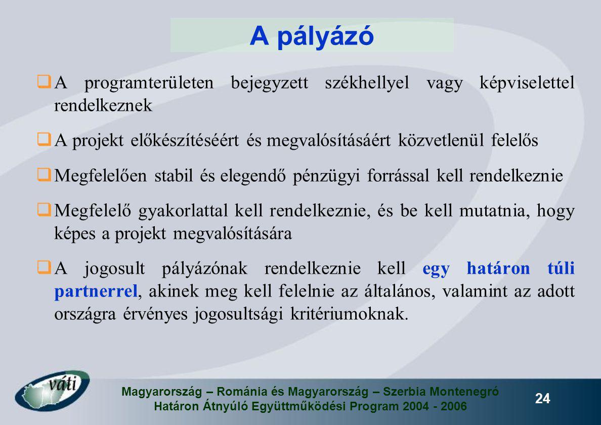 Magyarország – Románia és Magyarország – Szerbia Montenegró Határon Átnyúló Együttműködési Program 2004 - 2006 24 A pályázó  A programterületen bejeg
