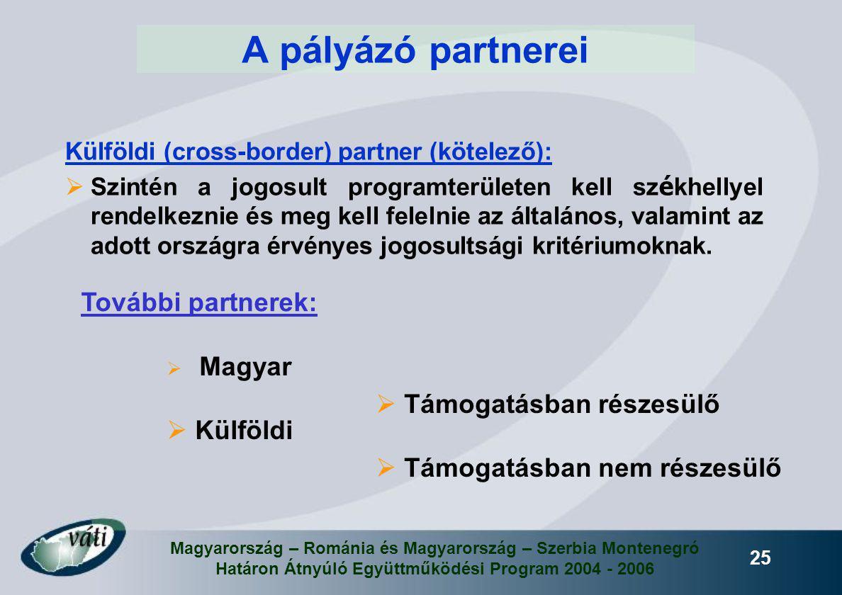 Magyarország – Románia és Magyarország – Szerbia Montenegró Határon Átnyúló Együttműködési Program 2004 - 2006 25 A pályázó partnerei Külföldi (cross-