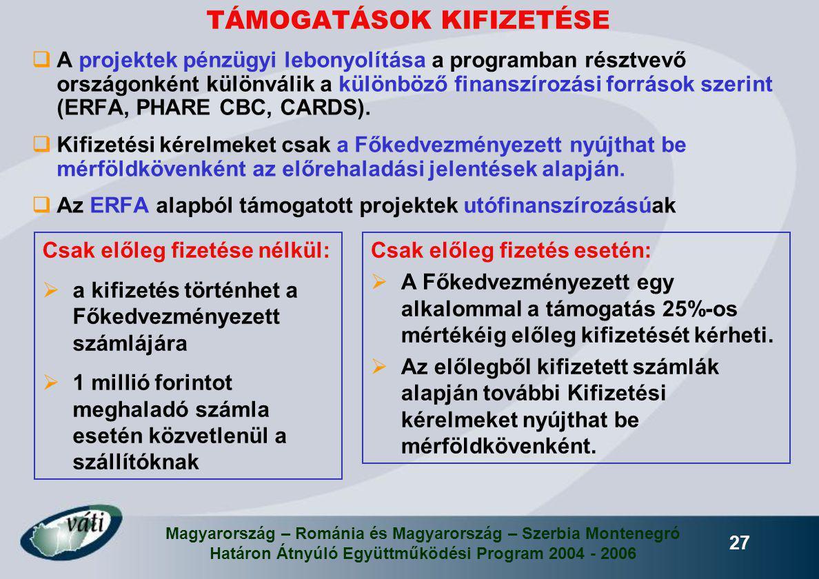 Magyarország – Románia és Magyarország – Szerbia Montenegró Határon Átnyúló Együttműködési Program 2004 - 2006 27  A projektek pénzügyi lebonyolítása