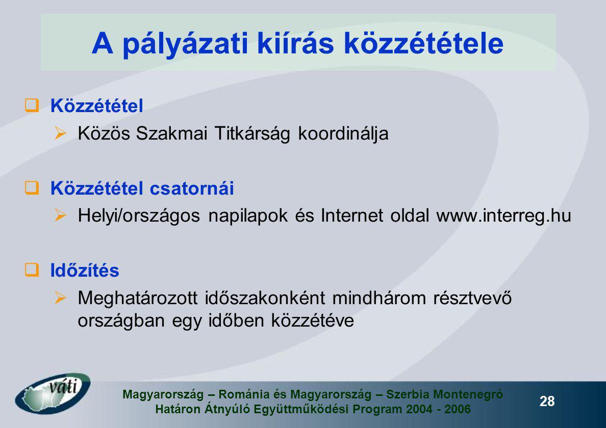 Magyarország – Románia és Magyarország – Szerbia Montenegró Határon Átnyúló Együttműködési Program 2004 - 2006 28 A pályázati kiírás közzététele  Köz