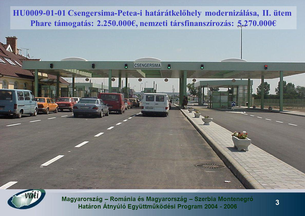 Magyarország – Románia és Magyarország – Szerbia Montenegró Határon Átnyúló Együttműködési Program 2004 - 2006 3 HU0009-01-01 Csengersima-Petea-i hatá