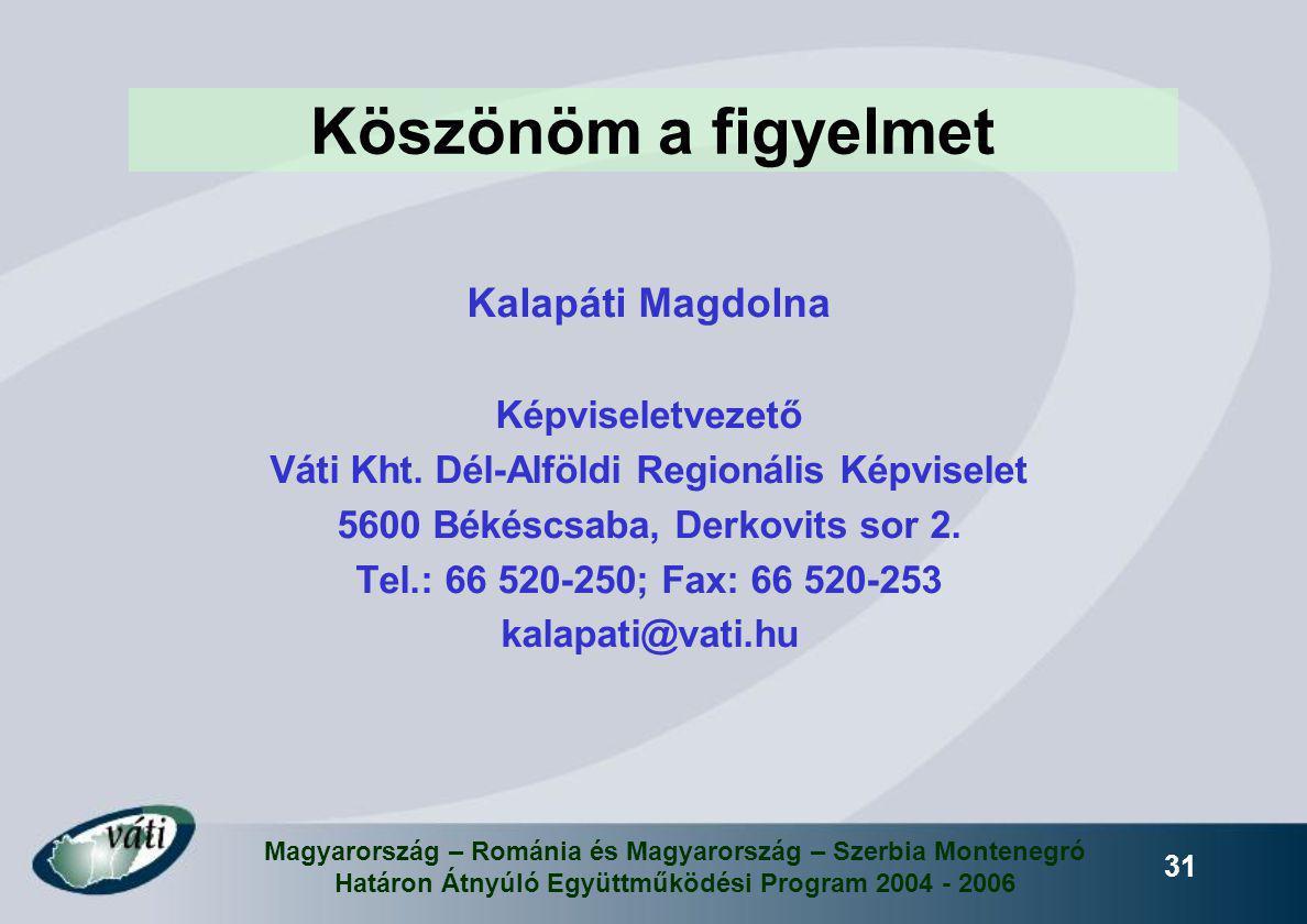 Magyarország – Románia és Magyarország – Szerbia Montenegró Határon Átnyúló Együttműködési Program 2004 - 2006 31 Köszönöm a figyelmet Kalapáti Magdol