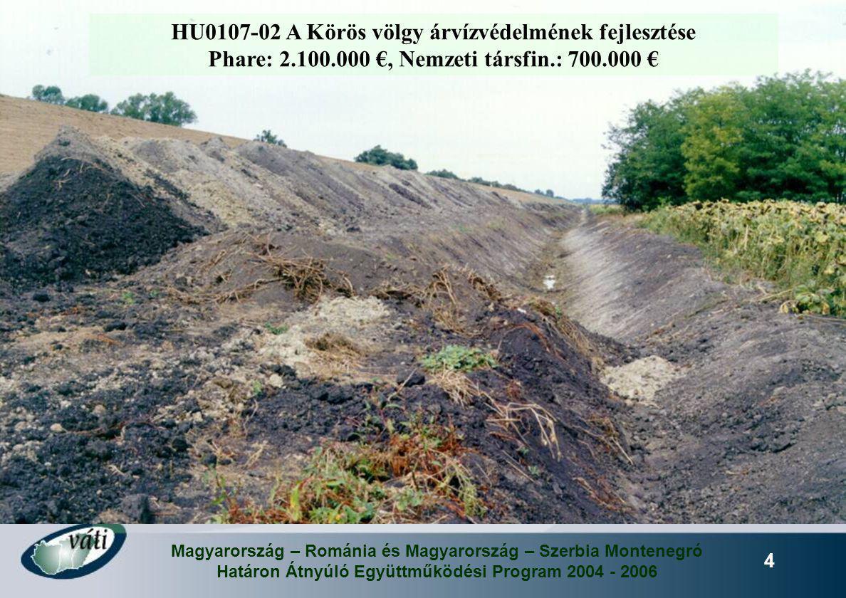 Magyarország – Románia és Magyarország – Szerbia Montenegró Határon Átnyúló Együttműködési Program 2004 - 2006 4 HU0107-02 A Körös völgy árvízvédelmén
