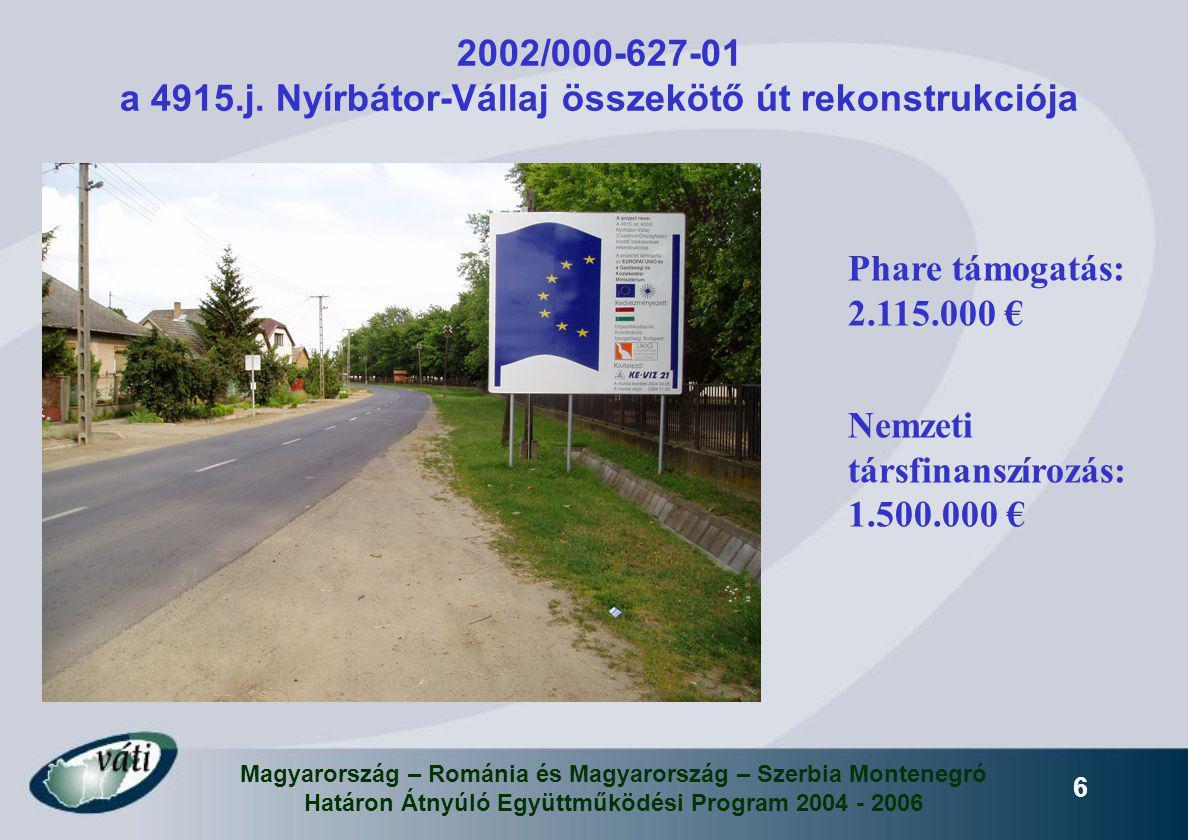 Magyarország – Románia és Magyarország – Szerbia Montenegró Határon Átnyúló Együttműködési Program 2004 - 2006 6 2002/000-627-01 a 4915.j. Nyírbátor-V