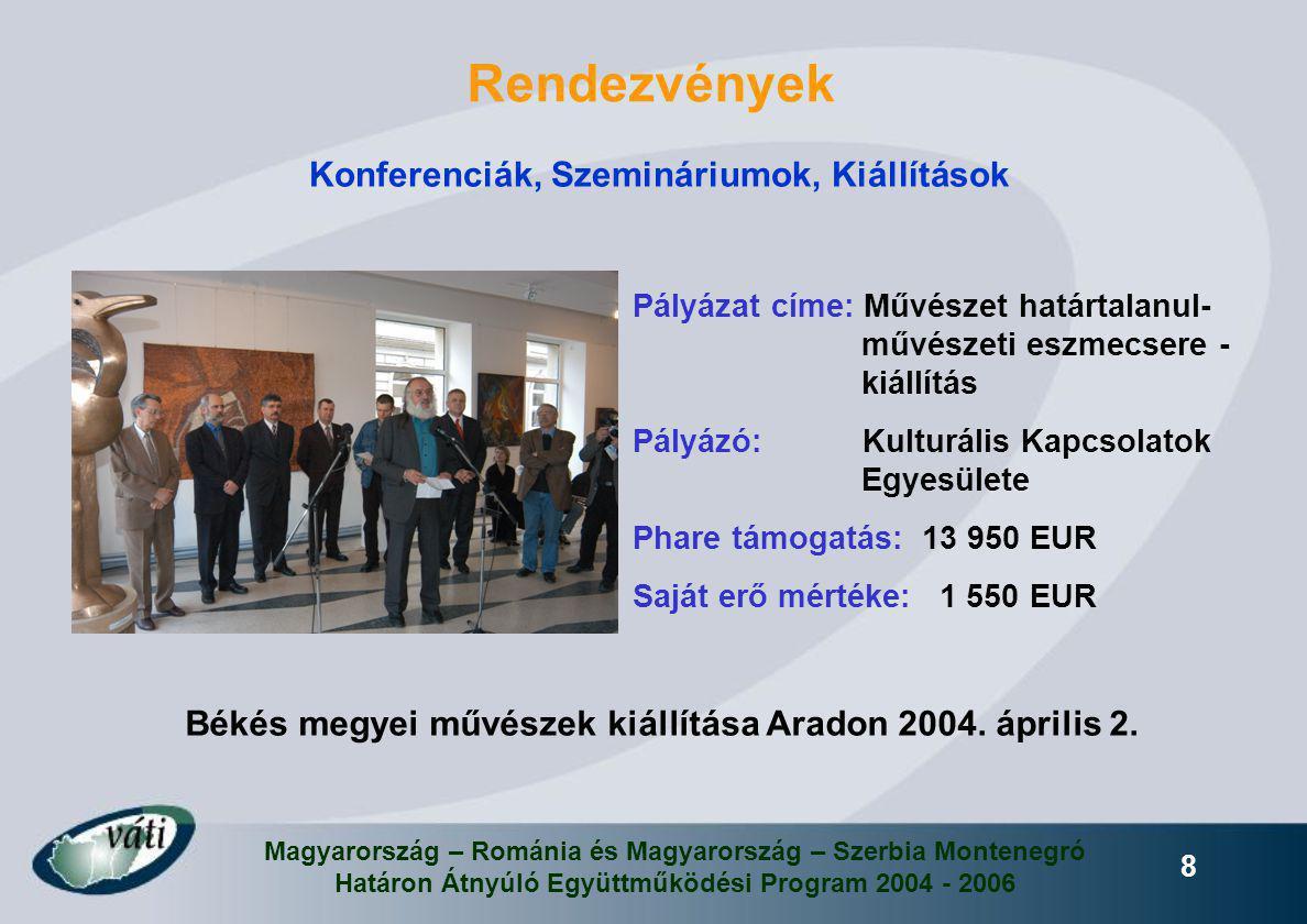Magyarország – Románia és Magyarország – Szerbia Montenegró Határon Átnyúló Együttműködési Program 2004 - 2006 8 Rendezvények Konferenciák, Szemináriu
