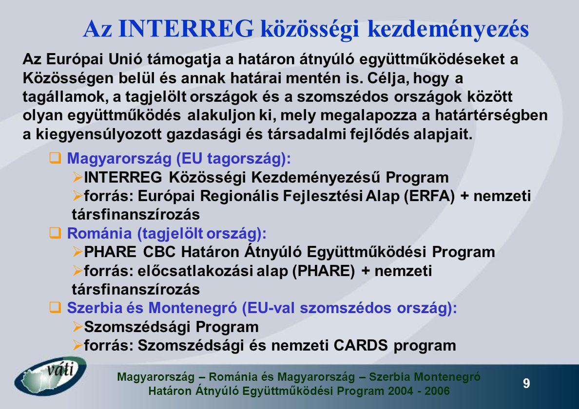 Magyarország – Románia és Magyarország – Szerbia Montenegró Határon Átnyúló Együttműködési Program 2004 - 2006 9 Az INTERREG közösségi kezdeményezés A