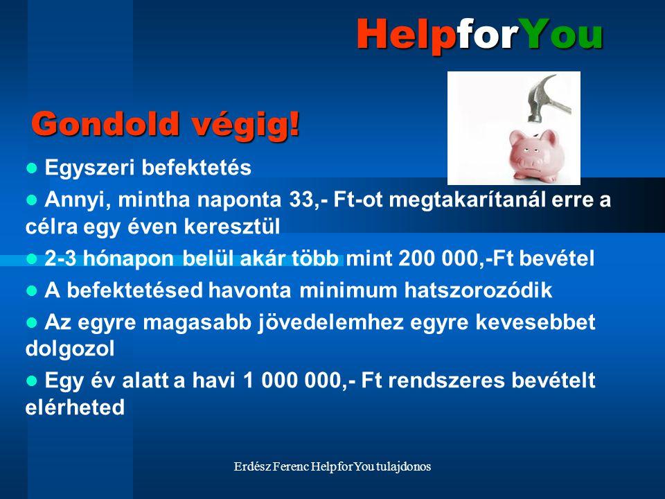 Erdész Ferenc HelpforYou tulajdonos HelpforYou Egyszeri befektetés Annyi, mintha naponta 33,- Ft-ot megtakarítanál erre a célra egy éven keresztül 2-3