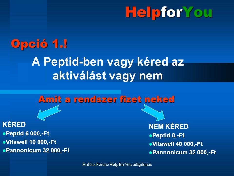 Erdész Ferenc HelpforYou tulajdonos HelpforYou A Peptid-ben vagy kéred az aktiválást vagy nem Opció 1.! KÉRED Peptid 6 000,-Ft Vitawell 10 000,-Ft Pan