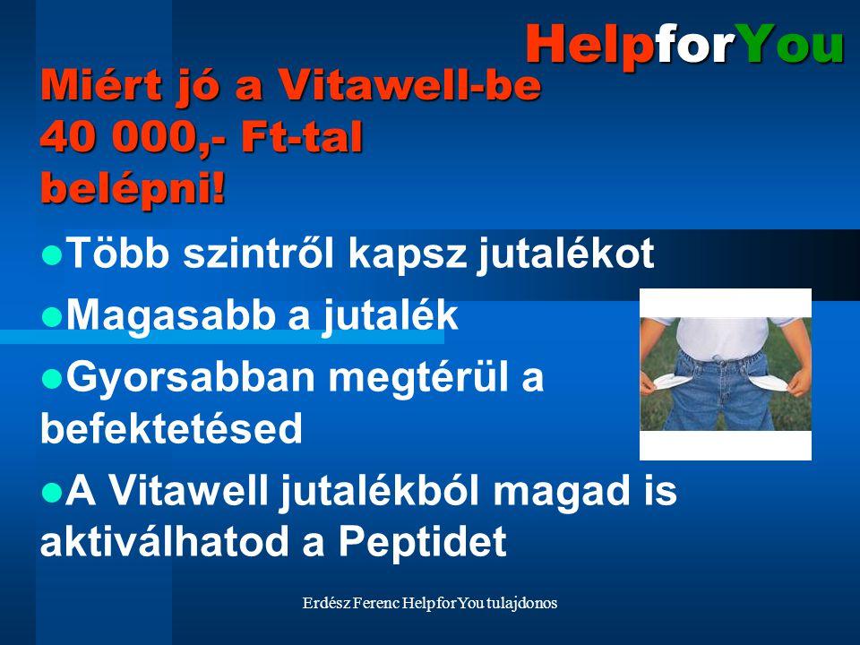 Erdész Ferenc HelpforYou tulajdonos HelpforYou Több szintről kapsz jutalékot Magasabb a jutalék Gyorsabban megtérül a befektetésed A Vitawell jutalékb
