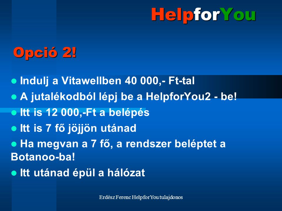 Erdész Ferenc HelpforYou tulajdonos HelpforYou Indulj a Vitawellben 40 000,- Ft-tal A jutalékodból lépj be a HelpforYou2 - be! Itt is 12 000,-Ft a bel