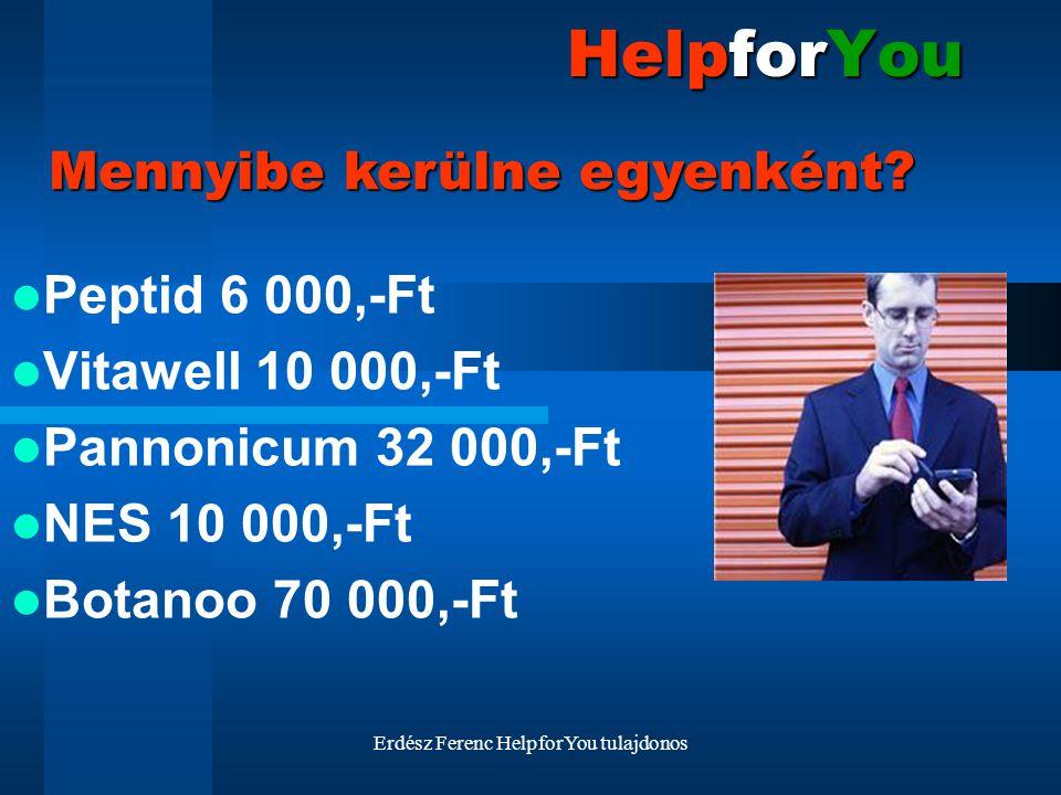 Erdész Ferenc HelpforYou tulajdonos HelpforYou Peptid 6 000,-Ft Vitawell 10 000,-Ft Pannonicum 32 000,-Ft NES 10 000,-Ft Botanoo 70 000,-Ft Mennyibe k
