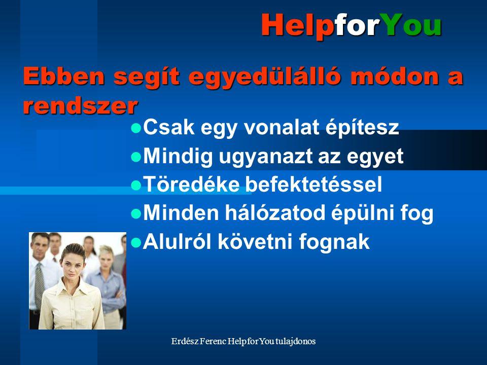 Erdész Ferenc HelpforYou tulajdonos HelpforYou Csak egy vonalat építesz Mindig ugyanazt az egyet Töredéke befektetéssel Minden hálózatod épülni fog Al