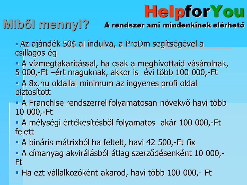HelpforYou A rendszer ami mindenkinek elérhető  Az ajándék 50$ al indulva, a ProDm segítségével a csillagos ég  A vízmegtakarítással, ha csak a megh