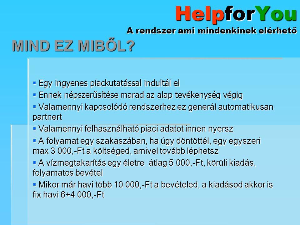 HelpforYou A rendszer ami mindenkinek elérhető  Egy ingyenes piackutatással indultál el  Ennek népszerűsítése marad az alap tevékenység végig  Vala
