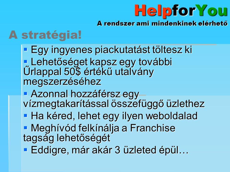 HelpforYou A rendszer ami mindenkinek elérhető Kitöltesz egy piackutatást.