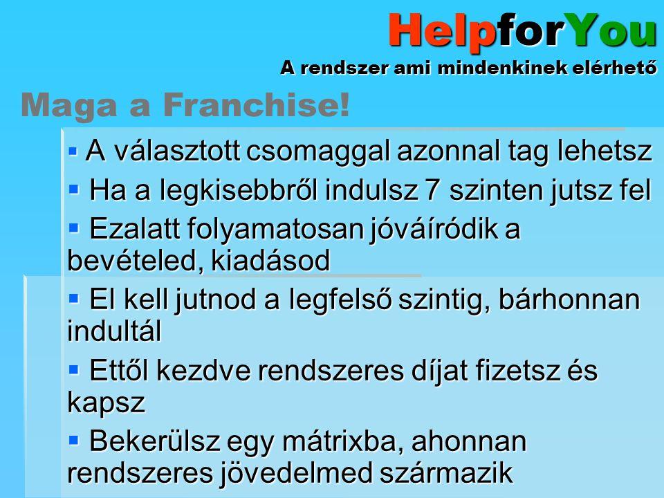HelpforYou A rendszer ami mindenkinek elérhető  A választott csomaggal azonnal tag lehetsz  Ha a legkisebbről indulsz 7 szinten jutsz fel  Ezalatt