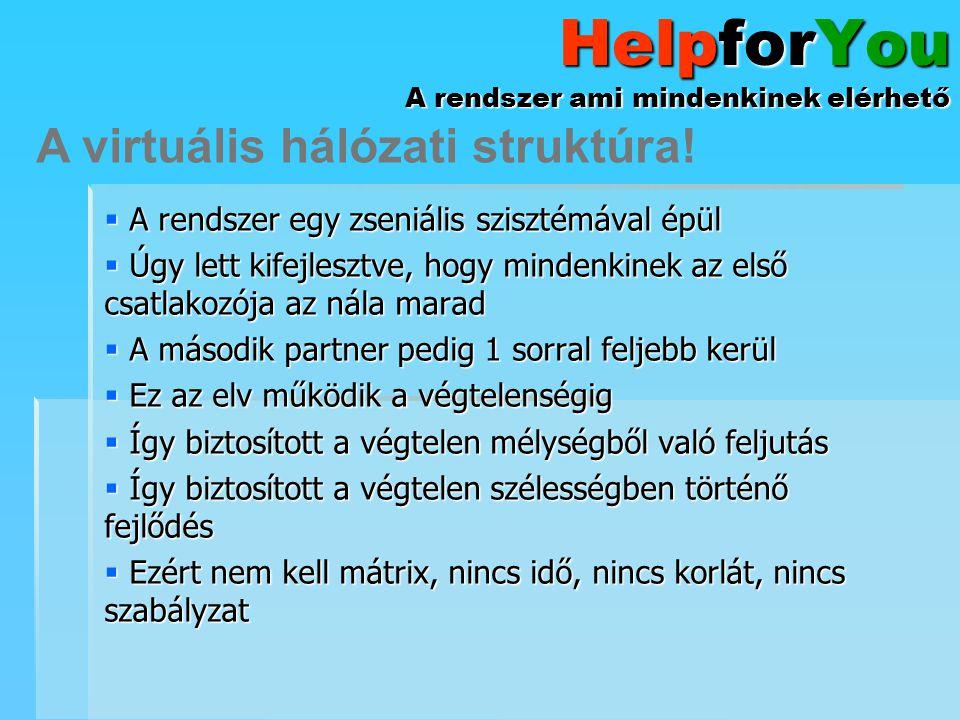 HelpforYou A rendszer ami mindenkinek elérhető  A Mentor az akihez a rendszer csatol, neki fizetsz  A Szponzor vagy te, vagy az aki neked fizet  A Partner aki nem közvetlen alattad, de a Te ágadban van A Franchise pozíciók!