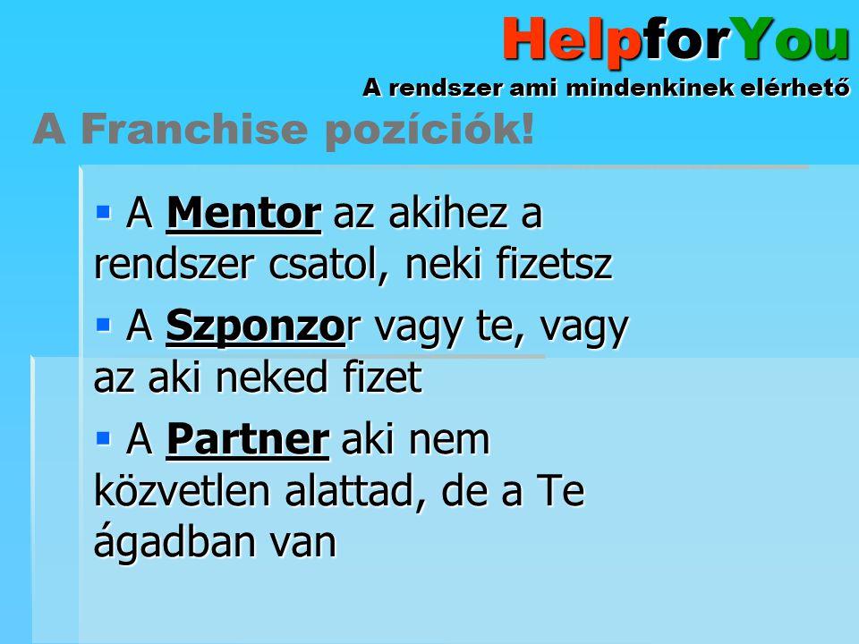 HelpforYou A rendszer ami mindenkinek elérhető  A Mentor az akihez a rendszer csatol, neki fizetsz  A Szponzor vagy te, vagy az aki neked fizet  A