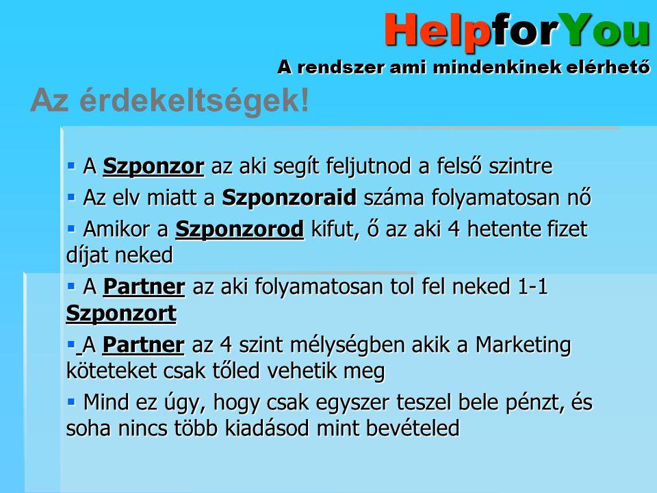 HelpforYou A rendszer ami mindenkinek elérhető  A Szponzor az aki segít feljutnod a felső szintre  Az elv miatt a Szponzoraid száma folyamatosan nő