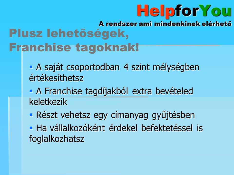 HelpforYou A rendszer ami mindenkinek elérhető  A saját csoportodban 4 szint mélységben értékesíthetsz  A Franchise tagdíjakból extra bevételed kele