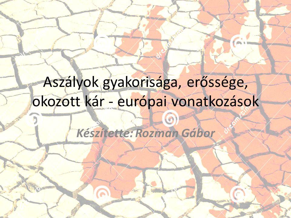 Aszályok gyakorisága, erőssége, okozott kár - európai vonatkozások Készítette: Rozman Gábor