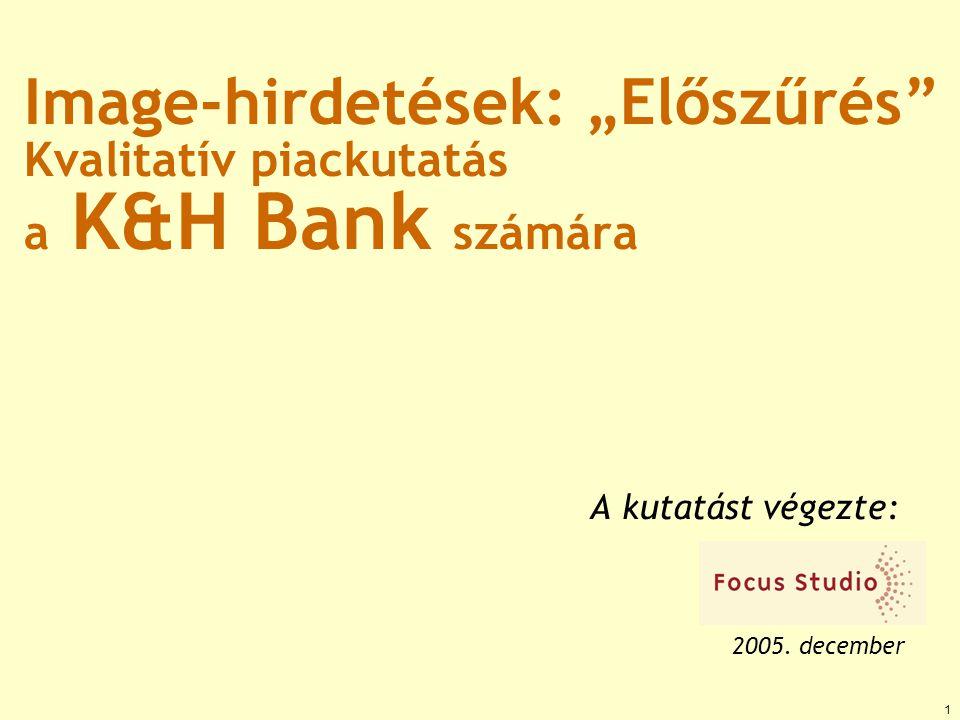 """1 Image-hirdetések: """"Előszűrés"""" Kvalitatív piackutatás a K&H Bank számára A kutatást végezte: 2005. december"""