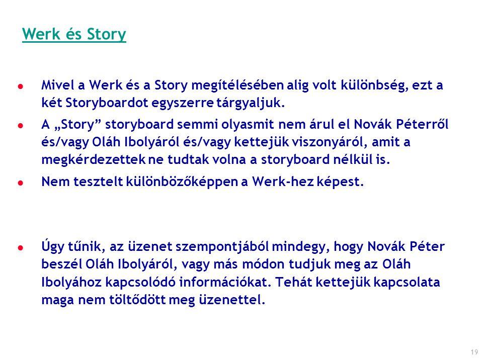 """19 Mivel a Werk és a Story megítélésében alig volt különbség, ezt a két Storyboardot egyszerre tárgyaljuk. A """"Story"""" storyboard semmi olyasmit nem áru"""