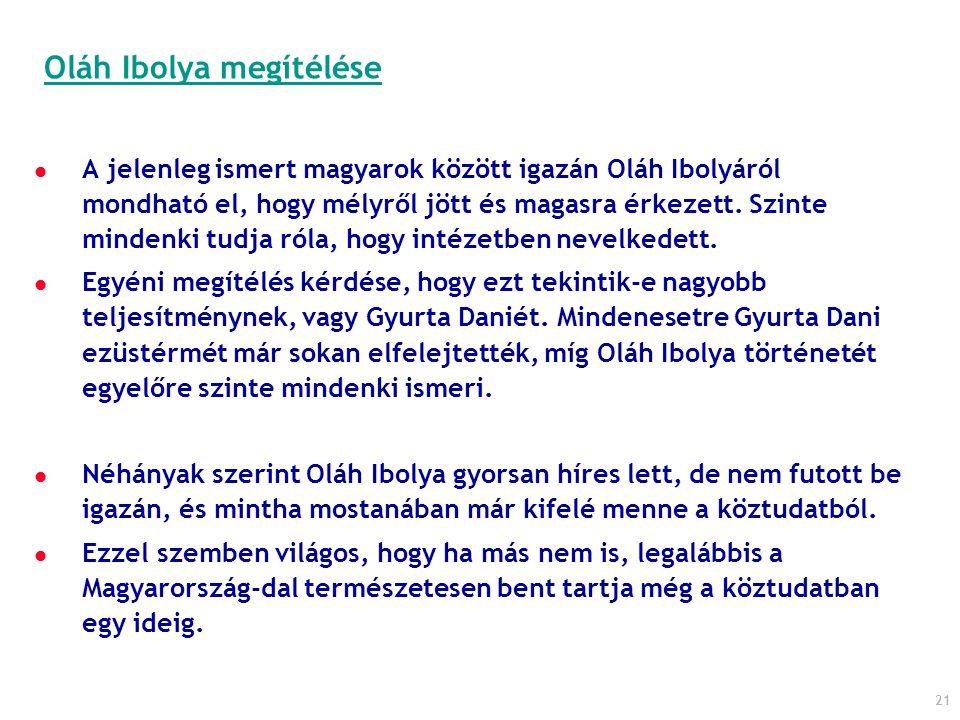 21 A jelenleg ismert magyarok között igazán Oláh Ibolyáról mondható el, hogy mélyről jött és magasra érkezett. Szinte mindenki tudja róla, hogy intéze