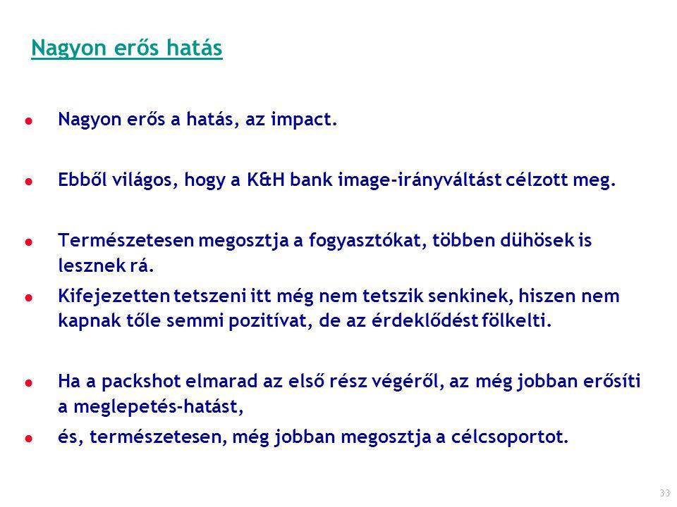 33 Nagyon erős a hatás, az impact. Ebből világos, hogy a K&H bank image-irányváltást célzott meg. Természetesen megosztja a fogyasztókat, többen dühös