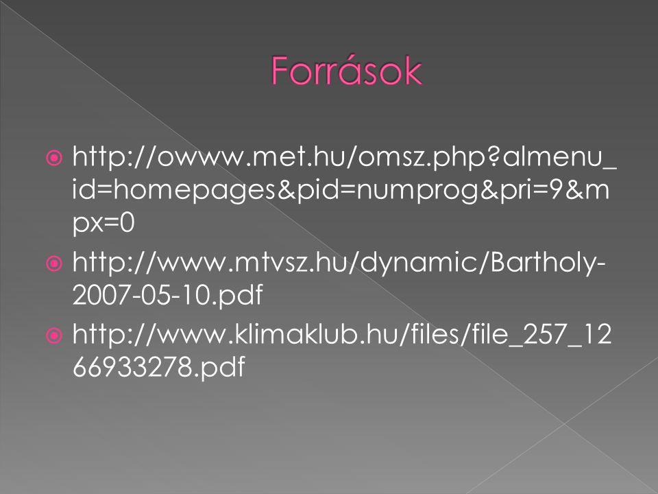  http://owww.met.hu/omsz.php?almenu_ id=homepages&pid=numprog&pri=9&m px=0  http://www.mtvsz.hu/dynamic/Bartholy- 2007-05-10.pdf  http://www.klimak