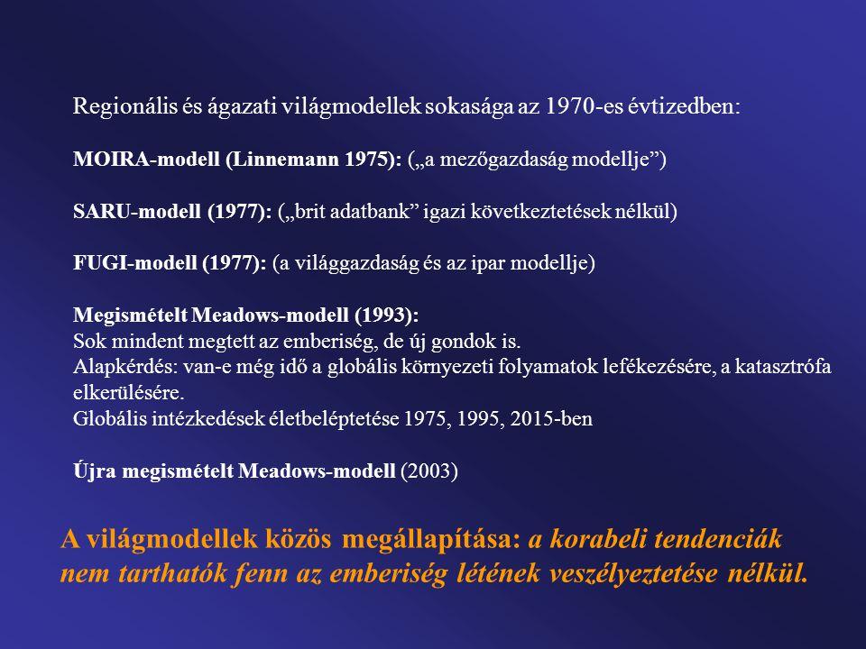 """Regionális és ágazati világmodellek sokasága az 1970-es évtizedben: MOIRA-modell (Linnemann 1975): (""""a mezőgazdaság modellje"""") SARU-modell (1977): (""""b"""