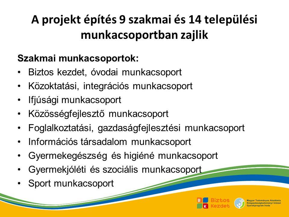 A projekt építés 9 szakmai és 14 települési munkacsoportban zajlik Szakmai munkacsoportok: Biztos kezdet, óvodai munkacsoport Közoktatási, integrációs