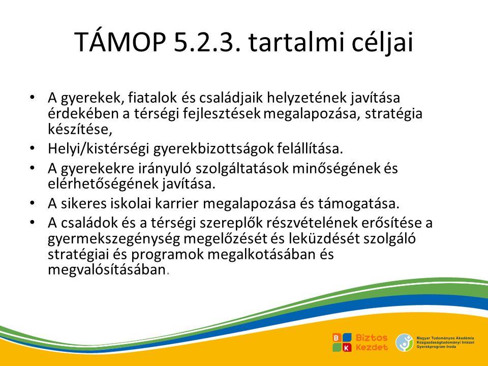 TÁMOP 5.2.3. tartalmi céljai A gyerekek, fiatalok és családjaik helyzetének javítása érdekében a térségi fejlesztések megalapozása, stratégia készítés