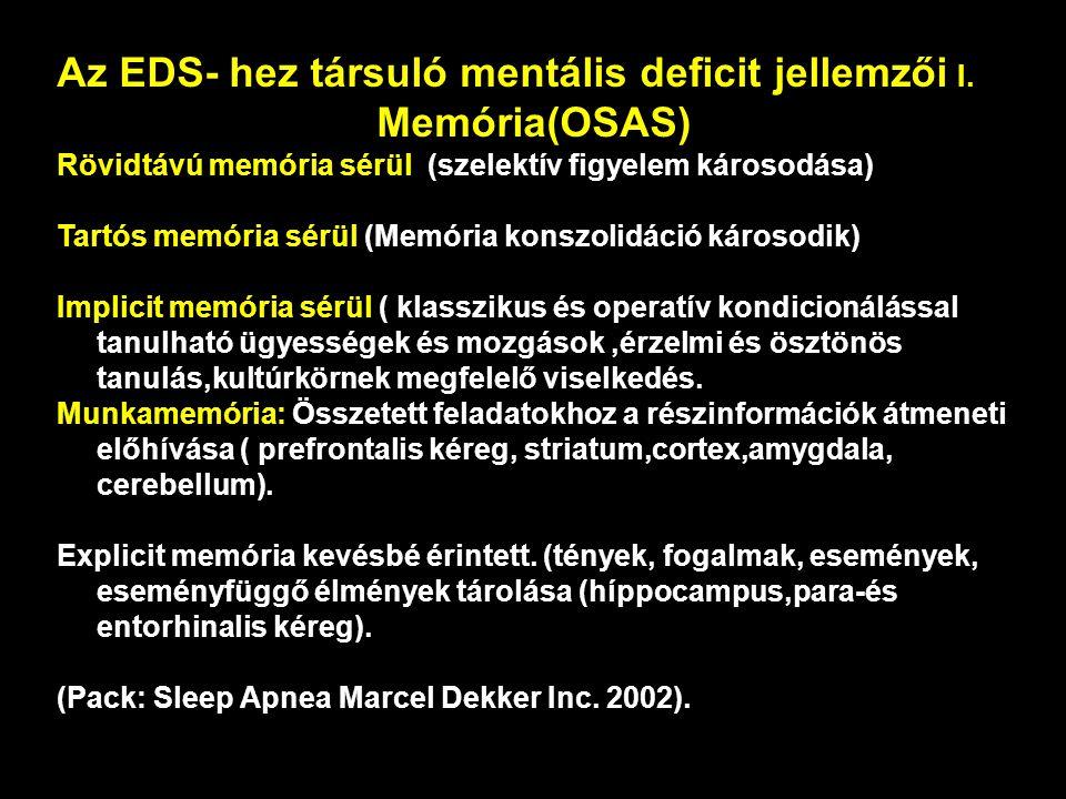 Az EDS- hez társuló mentális deficit jellemzői I.